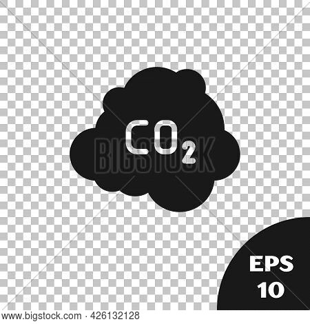 Black Co2 Emissions In Cloud Icon Isolated On Transparent Background. Carbon Dioxide Formula, Smog P