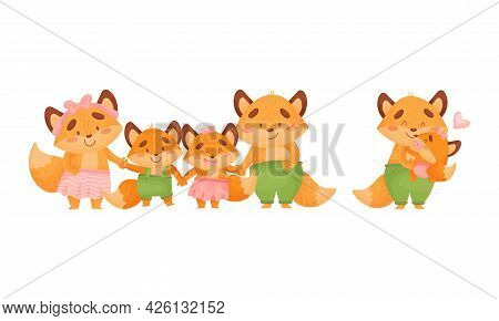 Happy Fox Family With Mother And Father Loving Their Little Cub Holding Hands Vector Set