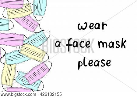 Background, Side Border With Multicolored Medical Face Masks With Lettering. Sidewall, Poster, Infog
