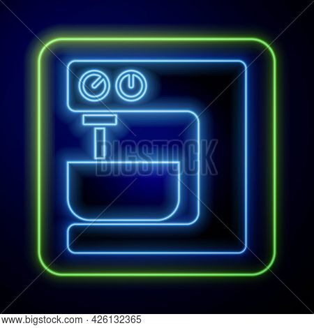 Glowing Neon Electric Mixer Icon Isolated On Blue Background. Kitchen Blender. Vector