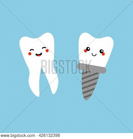 Cute Cartoon Style Happy And Smiling Teeth Characters. Normal White Tooth And Tooth Implant Icons, I