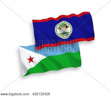National Fabric Wave Flags Of Republic Of Djibouti And Belize Isolated On White Background. 1 To 2 P