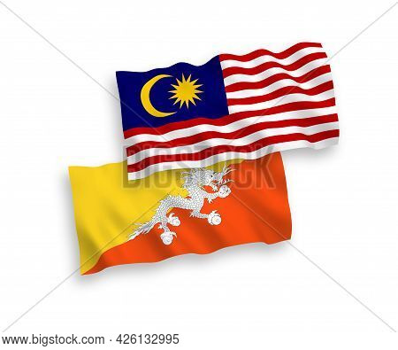 National Fabric Wave Flags Of Kingdom Of Bhutan And Malaysia Isolated On White Background. 1 To 2 Pr