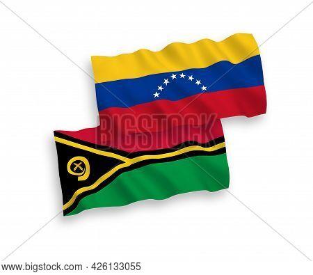 National Fabric Wave Flags Of Venezuela And Republic Of Vanuatu Isolated On White Background. 1 To 2