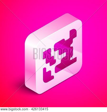 Isometric Gaseous Icon Isolated On Pink Background. Changing The State Of Matter In Gas. Silver Squa