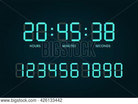 Digital Clock Numbers Set. Vector Illustration Graphic Design