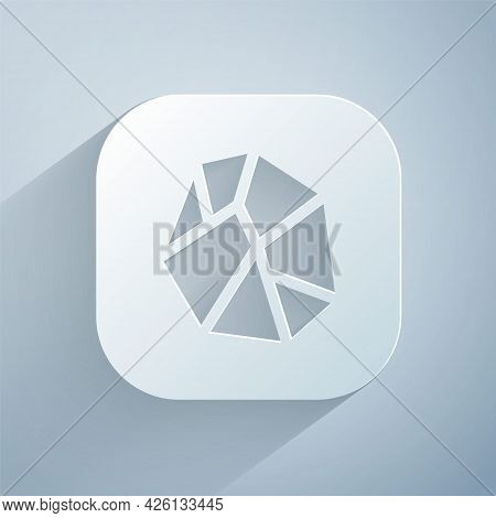 Paper Cut Salt Stone Icon Isolated On Grey Background. Paper Art Style. Vector