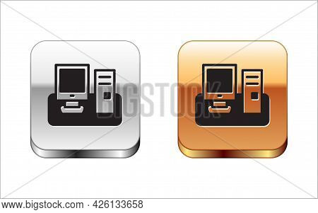 Black Computer Monitor With Keyboard And Mouse Icon Isolated On White Background. Pc Component Sign.