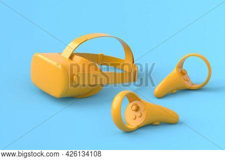 Virtual Reality Monochrome Glasses And Controllers For Online And Cloud Gaming On Blue And Yellow Ba