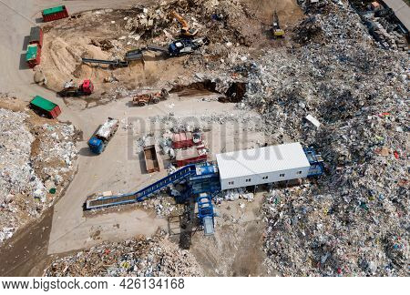 Landfill For The Recycling Of Construction Waste And Dispose Debris. Industrial Rubbish Treatment Pr