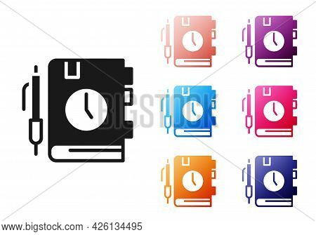 Black Daily Paper Notepad Icon Isolated On White Background. Set Icons Colorful. Vector