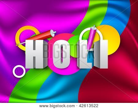 Indian colorful festival Holi celebration background with colors splash, color gun(pichkari). EPS 10.