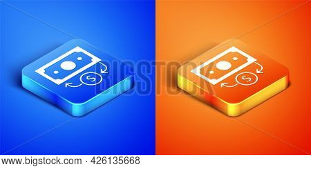Isometric Stacks Paper Money Cash Icon Isolated On Blue And Orange Background. Money Banknotes Stack