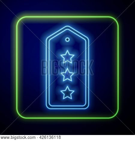Glowing Neon Military Rank Icon Isolated On Blue Background. Military Badge Sign. Vector