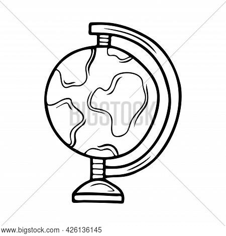 Hand Drawn Globe, School, Office Items Isolated On A White Background. Doodle, Simple Outline Illust
