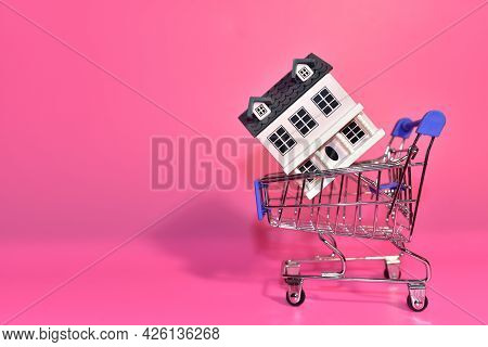 House In Supermarket Trolley. Home Buying Or Selling. Building On Credit Housing Or Renting An Apart