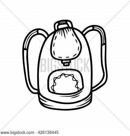 Hand Drawn Backpack, School Items Isolated On A White Background. Doodle, Simple Outline Illustratio