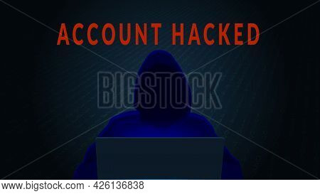 Account Hacked Concept With Silhouette Of Hacker And Computer On Dark Digital Background. Horizontal