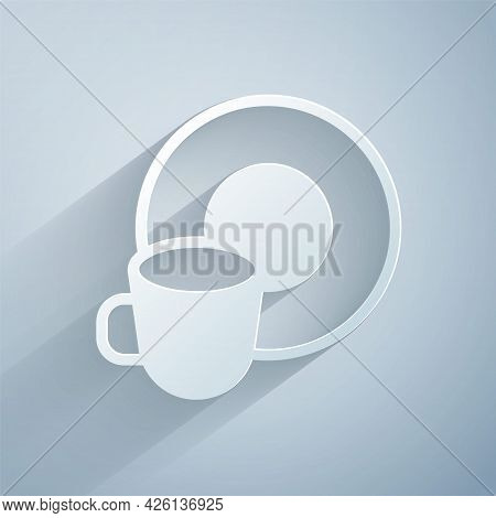 Paper Cut Washing Dishes Icon Isolated On Grey Background. Cleaning Dishes Icon. Dishwasher Sign. Cl