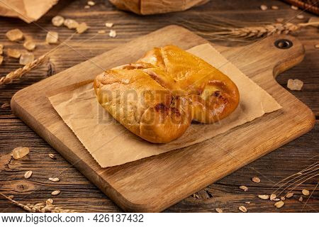 Sweet Ricotta Pockets Or Cottage Cheese Bundle Is A Traditional Hungarian Pastry Product On Wooden B