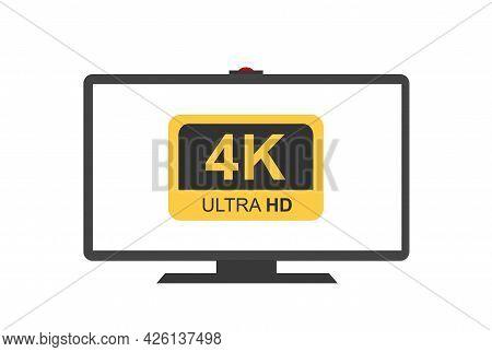 4k Ultra Hd Symbol, High Definition 4k Resolution Mark On Monitor