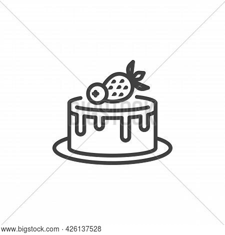 Strawberry Cake Line Icon. Linear Style Sign For Mobile Concept And Web Design. Birthday Cake With F