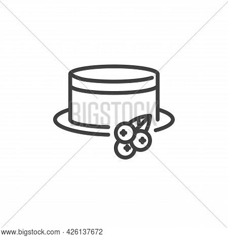 Currant Cheesecake Line Icon. Linear Style Sign For Mobile Concept And Web Design. Cake With Berry O