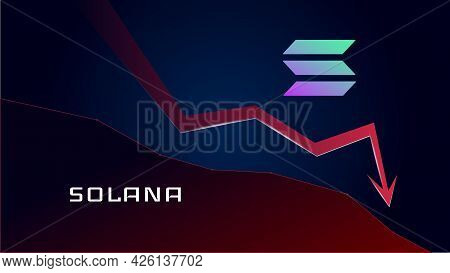 Solana Sol In Downtrend And Price Falls Down. Cryptocurrency Coin Symbol And Red Down Arrow. Crushed