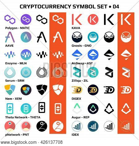 Set 04 Of Isolated Cryptocurrency Symbols, Digital Coins Icons In Monochrome And Color. Vector Illus
