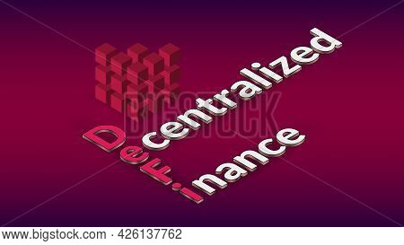 Defi Decentralized Finance, Colored Isometric Text With Cube On Red. Design Element For Banner Or Ne