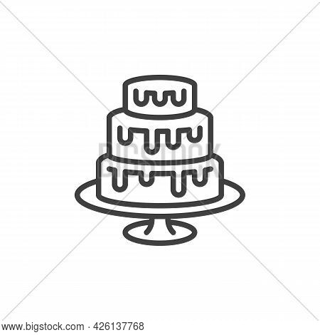 Three-layer Cake Line Icon. Linear Style Sign For Mobile Concept And Web Design. Three Tiers Cake Ou