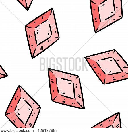 Quartz Cartoon Crystals Seamless Border Pattern. Cute Gem Doodles Wallpaper. Vector Repeatable Backg
