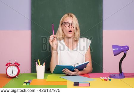 Portrait Of Young Caucasian Female Teacher Or Student. Cheerful Teacher On Lesson. Teaching, Serious