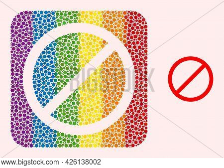 Dotted Mosaic Cancel Stencil Icon For Lgbt. Rainbow Colored Rounded Square Mosaic Is Around Cancel C