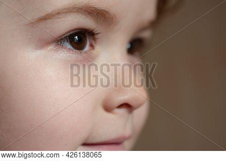 Head Close Up. Closeup Head Shot Of Child. Kids Face, Little Boy Profile Portrait.