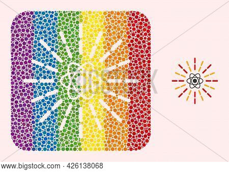Dotted Mosaic Atomic Radiation Carved Icon For Lgbt. Multicolored Rounded Square Mosaic Is Around At
