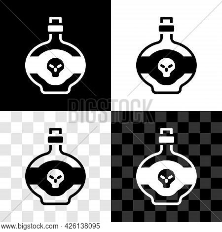 Set Poison In Bottle Icon Isolated On Black And White, Transparent Background. Bottle Of Poison Or P