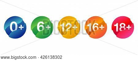Age Limits Badges. For Censoring Of Different Categories For Children And Adults - 0, 6, 12, 16, 18