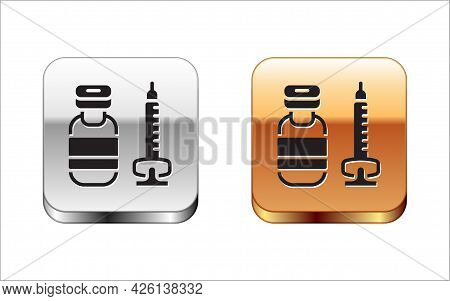 Black Medical Syringe With Needle Icon Isolated On White Background. Vaccination, Injection, Vaccine