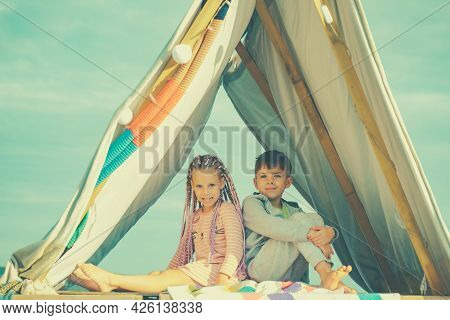Kids Camping. Children In Homemade Tent. Best Friends Spend Time Together. Laughing Brother And Sist