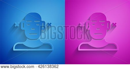 Paper Cut Deafness Icon Isolated On Blue And Purple Background. Deaf Symbol. Hearing Impairment. Pap