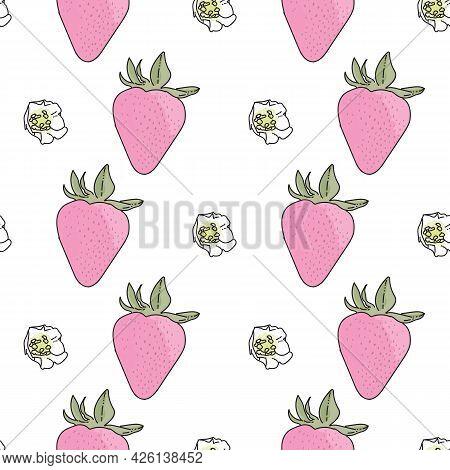 Vector Background Garden Strawberries, Berry Flowers, Berries Fruits. Seamless Pattern Background