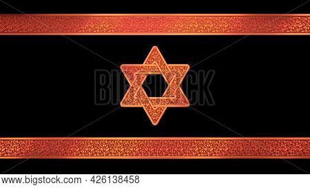 Pretty Israel Flag With Shield Of David , Cgi Abstract 3d Illustration