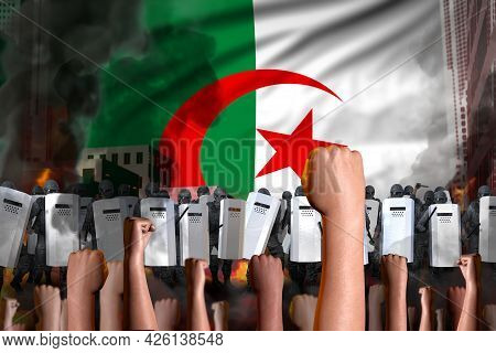 Protest In Algeria - Police Officers Stand Against The Protesting Crowd On Flag Background, Revolt S
