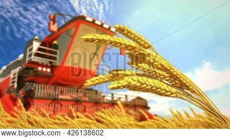 Farm Harvester On Wheat Field On Sunny Day - Fictive Cg Industrial 3d Illustration
