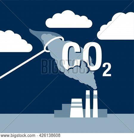 Carbon Dioxide Capture Technology - Net Co2 Footprint Storage Development Strategy. Vector Illustrat