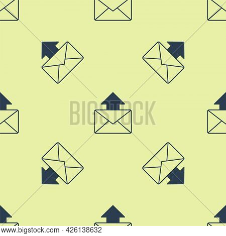 Blue Mail And E-mail Icon Isolated Seamless Pattern On Yellow Background. Envelope Symbol E-mail. Em