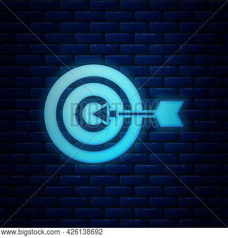 Glowing Neon Target Financial Goal Concept Icon Isolated On Brick Wall Background. Symbolic Goals Ac