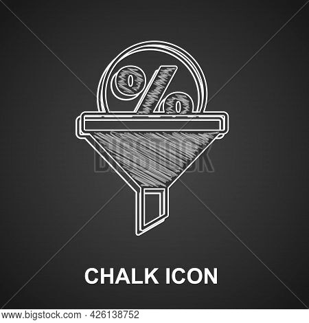 Chalk Lead Management Icon Isolated On Black Background. Funnel With Discount Percent. Target Client