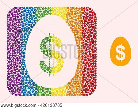 Dot Mosaic Dollar Deposit Egg Stencil Icon For Lgbt. Colorful Rounded Square Mosaic Is Around Dollar